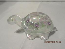 FENTON ART GLASS 2002 CRYSTAL IRIDIZED TURTLE FIGURINE`RANDY BAUMAN  - $34.99