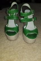 Nine West Sandal Green Ankle Strap Wedge Platform Size 7 M - €9,64 EUR