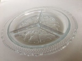 """Relish Dish Vintage Candy Fruit Three Compartment 8 1/2"""" dia Clear Glass... - $14.80"""