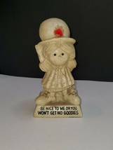 Be Nice To Me Or You Wont Get No Goodies 1970s Vintage Figurine Red Flower - $10.89