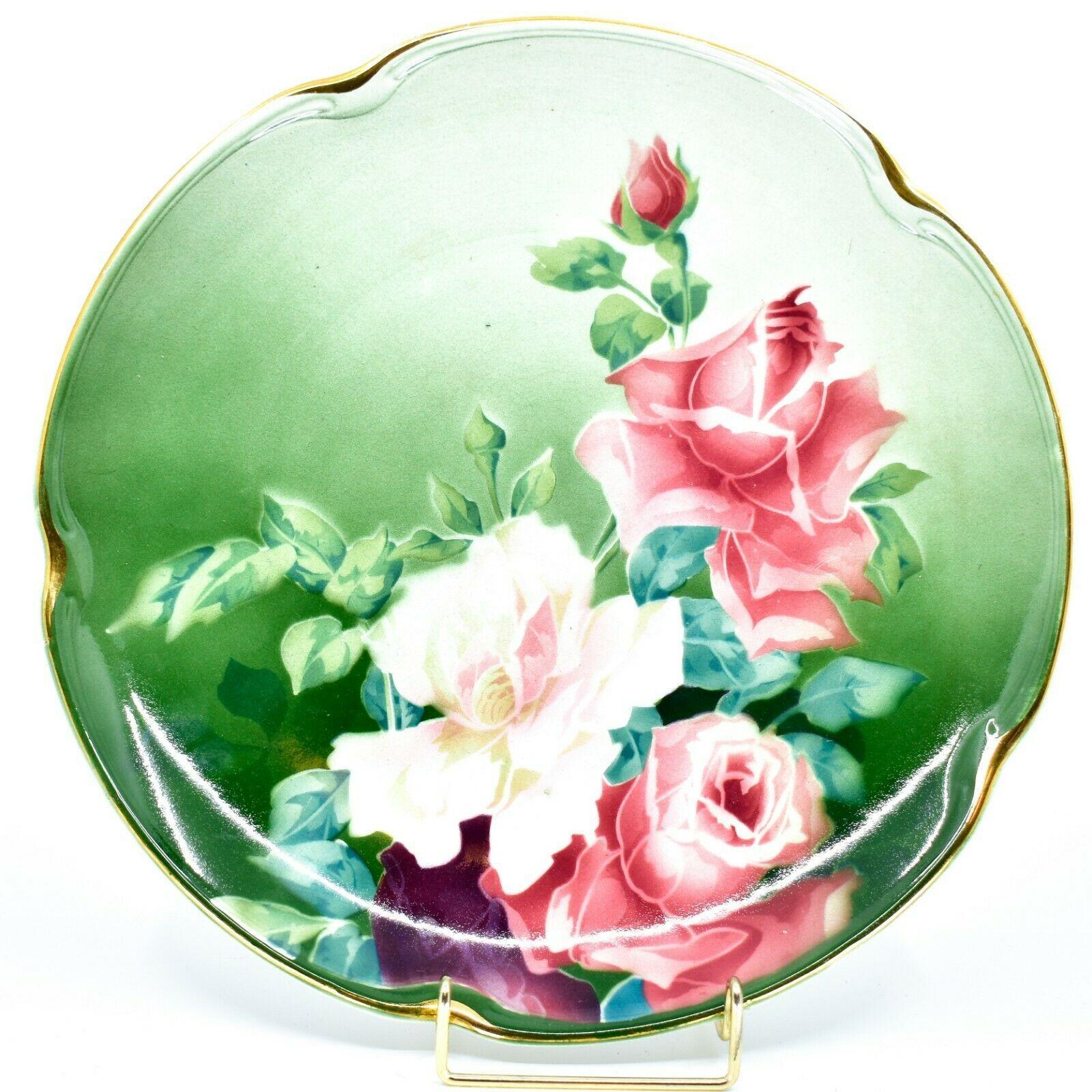 "Antique K&G Keller Guerin Luneville Faience Rose Pattern 12.5"" Plate Platter"