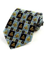 Masonic Checkerboard Men's Necktie Freemason Compass Mason Gray Neck Tie - $15.79