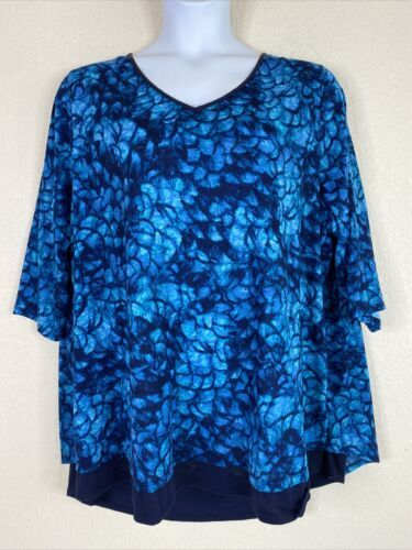 Primary image for Catherines Womens Plus Size 2X Blue V Neck Tunic Blouse Elbow Sleeve