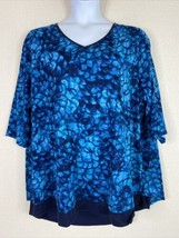 Catherines Womens Plus Size 2X Blue V Neck Tunic Blouse Elbow Sleeve - $23.76