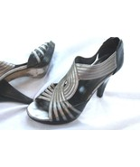 Franco Sarto SUPPER Size 7.5 Gray Back Zip Strappy Dress Heels Shoes - $13.86