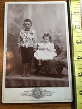 Cabinet Card Cute Young Siblings Curls Bows & Bare Feet Kentucky Studio ... - $8.00
