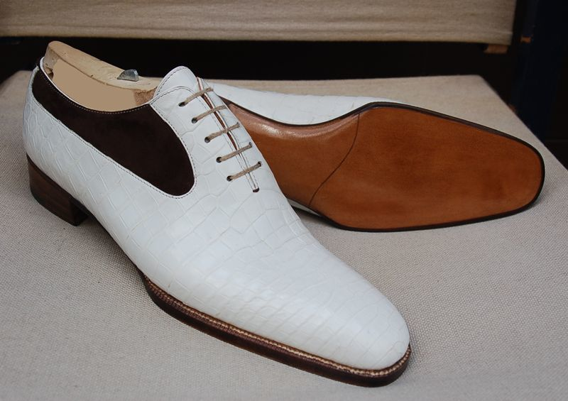 Handmade Men's White Crocodile Texture and Black Suede Dress Oxford Leather Shoe