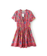 Boho Summer Vintage Floral Bird Print Mini Dress Short Sleeve V Neck Bea... - £19.70 GBP