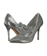 Michael Kors Silver Sequin Mary Jane Bow Paris High Heel Pumps 7 NIB - $123.26