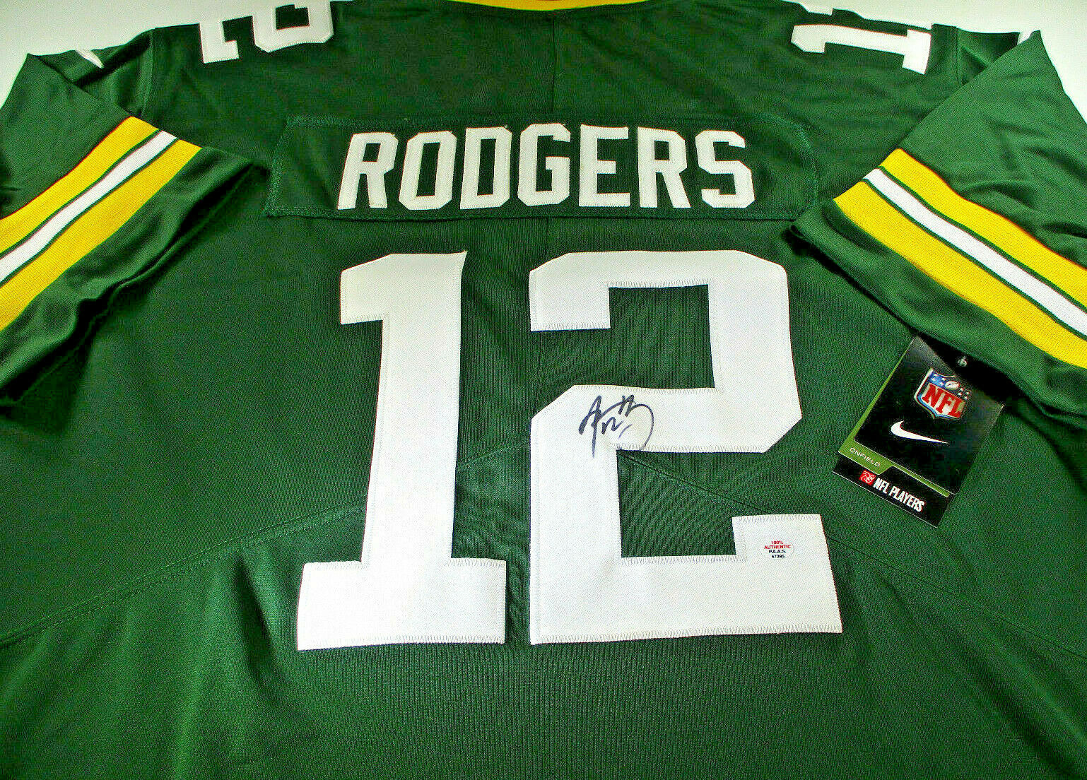 AARON RODGERS / AUTOGRAPHED GREEN BAY PACKERS PRO STYLE FOOTBALL JERSEY / COA
