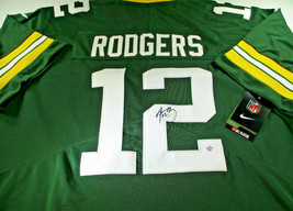 AARON RODGERS / AUTOGRAPHED GREEN BAY PACKERS PRO STYLE FOOTBALL JERSEY / COA image 1