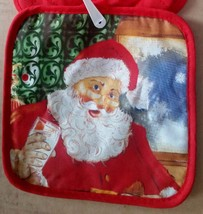SET of 2 Printed Kitchen Pot Holders, CHRISTMAS SANTA # 3, red back - $7.91