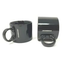 Starbucks Stackable Black Coffee Cup Mug 12oz Wide Base 2017 Set of 2 Mugs - $40.12
