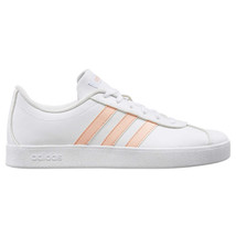 NEW Adidas Kids Girls White Pink VL Court 2.0 Skateboard Tennis Gym Shoes EE6901 image 2