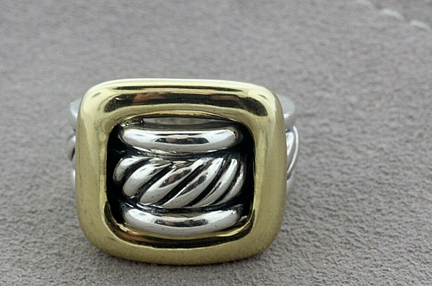 David Yurman 18K Gold & Silver Square Buckle Cable Band Ring Sz 7 Exc Cond, Box