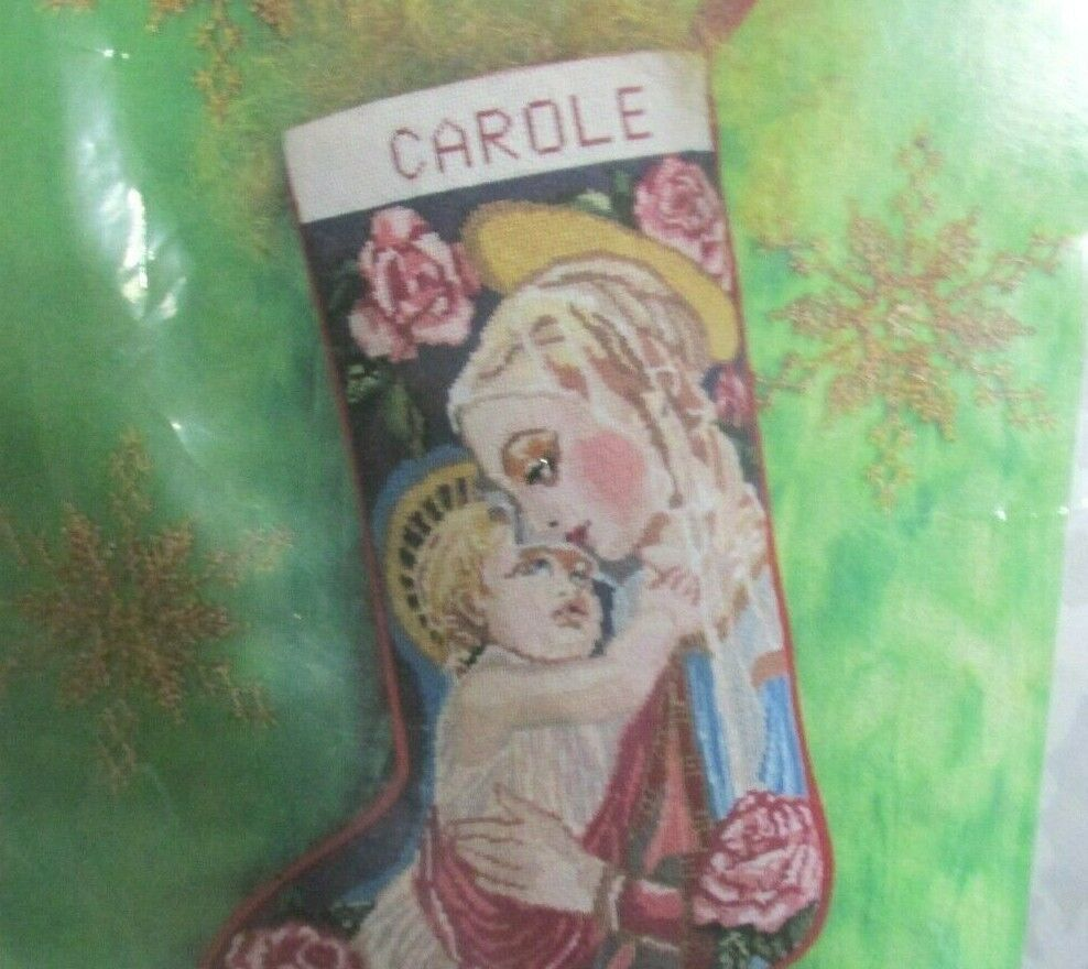 Primary image for Candamar Something Special needlepoint kit Madonna and Child stocking new sealed