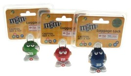 M&M Luggage Locks Blue Red Green TSA Approved MM Candies Set 3 Travel Se... - $18.49