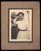 Antique Photograph Woman The Thinker Lovely Fashion Dress Casual Pose - $14.99
