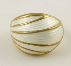 DAVID ANDERSEN Norway Modernist Gold Vermeil Enamel RING - Vintage - Size 6 - £76.27 GBP
