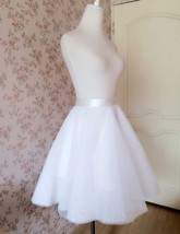 Nude White Gray Knee Length High Waist A-line Tulle CIRCLE SKIRT Lady Tutu Skirt image 3