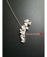 Matte silver orchids necklace silver cascading o thumbtall