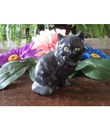 Small Vintage Ceramic Long Haired Yellow Eyes Black Cat Kitten Figurine - $6.79