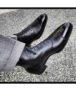 Handmade Leather Boots Mens Black Ankle Dress Boots - $179.99+