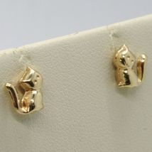 18K YELLOW GOLD EARRINGS, WITH ROUNDED MINI CATS, LENGTH 8 MM, MADE IN ITALY image 3