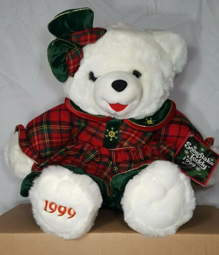 "Primary image for Vintage 1999 Snowflake Teddy Girl with Bow 22"" Christmas Plush DanDee With Tag"