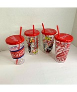 Coca Cola Coke Cup With Lid Straw Lot of 4 red - $21.49