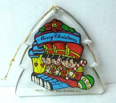 Acrylic Shaped Ornament Tree with Toy Soldiers MERRY CHRISTMAS 1981 VTG - $9.89