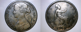1862 One Penny World Coin - Great Britain - UK - England - $29.99