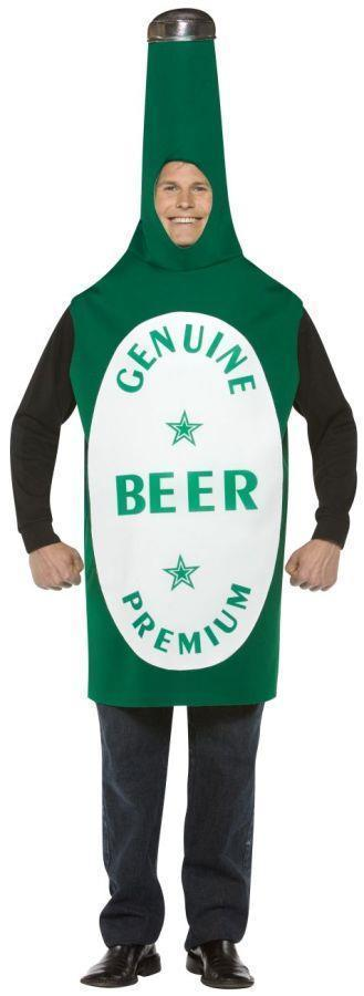 Beer Bottle Costume Adult Alcohol Green Tunic Halloween Party Unique Cheap GC302
