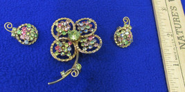 Vintage Goldtone Flower Brooch & Clip-On Earrings Colored Rhinestones Je... - $18.80