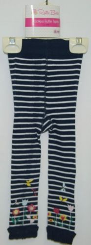RuffleButts RLKNV12WSFL Navy Striped Ruffle Footless Tights Size 12 to 24 Months