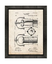 Wine Cooler Patent Print Old Look with Beveled Wood Frame - $24.95+