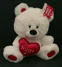 Carlton Cards White Teddy Bear Holding Heart Hugs Plush Stuffed Animal V... - $24.74