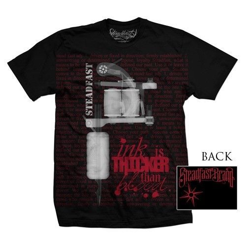 Ferme Marque Tatouage Machine Encre Thicker Than Sang Gothique Punk T Shirt