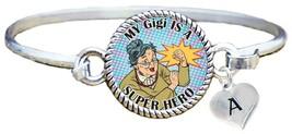 My Gigi is a Super Hero Comic Look Silver Cuff Bracelet Jewelry Choose Initial - $14.24