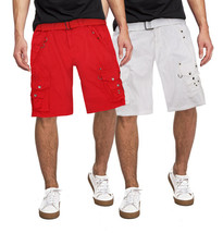 Men's Belted Casual Cotton Multi Pocket Cargo Shorts With Metal Embellishments