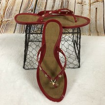 Marc Fisher Flip Flop Sandals Omaja Red With Gold Stars Women's Size 8 - $13.46