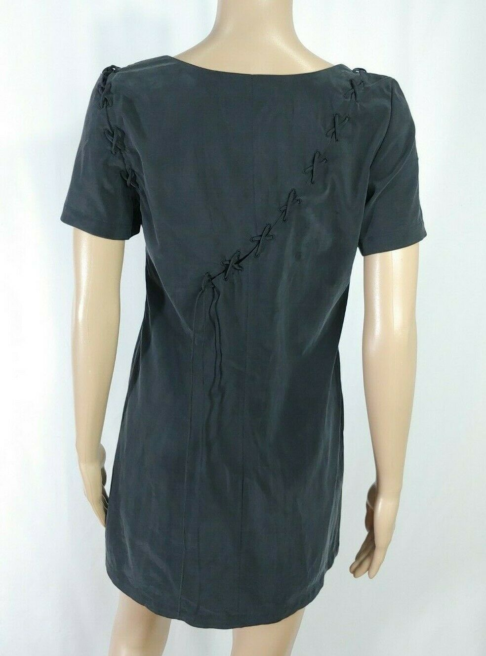 Mackage $395 Black Cupro Lace Up Minimalist Goth Mini Tunic Shift Shirt Dress S