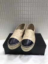 100% Authentic Chanel Beige Black Leather Slip On CC Logo Espadrilles Shoes Flat