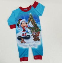 Christmas Mickey Mouse Infant Sleeper 3 Months Baby One Piece Blue Disne... - $19.95