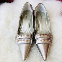 KLUB NICO Anthropologie Metallic Silver Studded Pointy Kitten Heels Braz... - $60.78