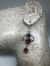 Vintage Red Ruby Glass Deco 925 Leverback Earrings - $68.08
