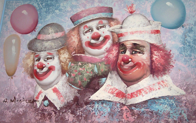 "Original W. Moninet ""Three Circus Clowns"" Acrylic Art Painting-Signed"