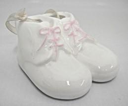 Vintage Porcelain Baby Girl Booties Figural Hanging Ornament Nursery Whi... - $12.86
