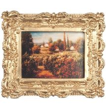 Framed Picture of Old World Village pf1120 DOLLHOUSE Miniature #1 - $11.23