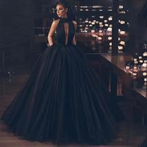 Sexy Black Deep V- Neck Halter Side Split Backless Bridal Dress image 3